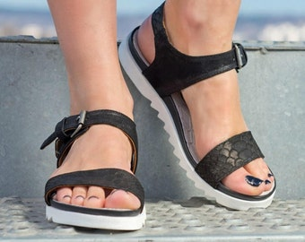 SALE/Black Genuine Leather Wedges Sandals/genuine leather sandals/ PROMO PRICE only now