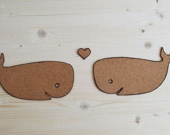 whale love cork wallsticker