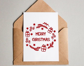 Wreath Christmas Card in Red, Red Vinyl Card, Handmade Merry Christmas Card, Red Holiday Cards,