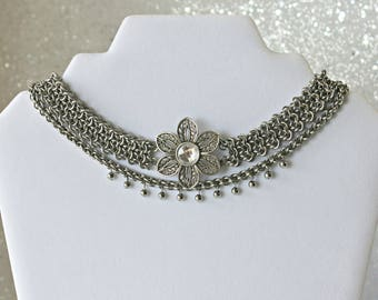 """Bohemian """"wild child"""" necklace,  bohemian necklace for women , flower necklaces for women, flower choker, chainmail, chain choker necklace"""