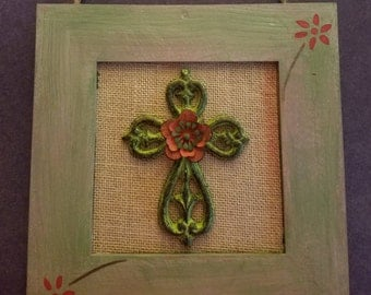 Wood handpainted framed cross