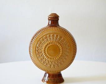 Vintage boho bottle with stopper corks carafe bohemain jar home decor Brown ceramic