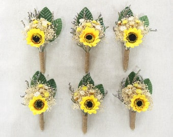 Rustic Wedding Boutonniere,Sunflower Burlap Groom Lapel Pin,Baby's Breath and Sunflower Corsage,Rustic Sunflower Boutonniere.
