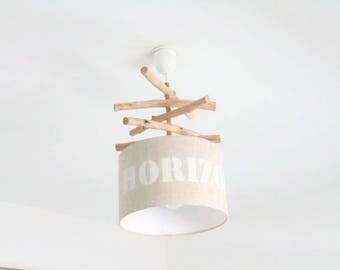 "Chandelier Driftwood linen ""Skyline"" - lamp shade cylinder 28 cm - cylindrical pendant - round ceiling light"