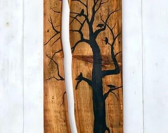 LARGE TREE PAINTING,Rustic Tree Painting,Tree Painting,Tree Wall Art,Tree Wall Decor,Painting on Wood,Tree,Crow Painting,Crow Wall Decor,Art