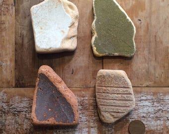 LARGE SEA POTTERY ~ Sea Tumbled Treasure ~ Mosaic Pieces ~ Unusual Objects ~ Arts and Crafts ~ Devon Treasure