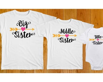 Big Middle Little Sister Matching Shirts - Matching Sister Shirts - Big Sister Middle Sister Little Sister