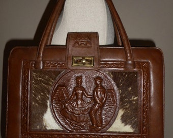 Vintage Mexican Hat Dance hand-tooled embossed brown leather calf hair satchel bag purse EUC