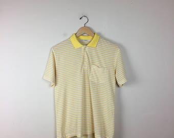 Vintage Yellow Striped Polo, Yellow White Stripe Shirt, Yellow polo