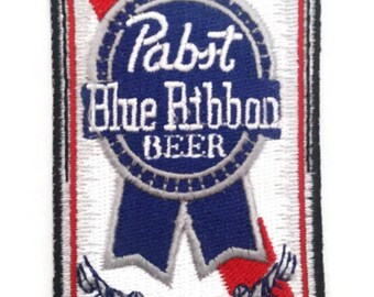 Pabst Blue Ribbon Beer Can Embroidered Patch, heat on or sew on backing, size 4 X 2