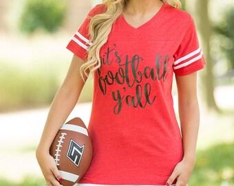 It's Football Y'all Varsity Tee Red..Gameday Tee..Printed Tailgating Tee..Fall Tee..Preppy Game Day Tee..Red Football Shirt..WKU..Louisville
