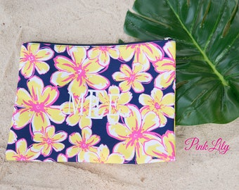 Monogrammed Beach Floral Zip Pouch..Vibrant Cosmetic Bag..Personalized Summer Bag