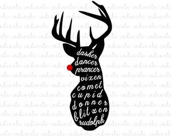 Dasher Dancer Prancer Vixen Comet Cupid Donner Blitzen Rudolph Digital File (svg, dxf, png, jpeg)