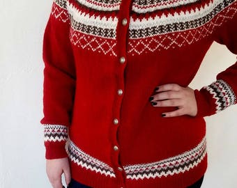 Gretekofte Norweigian Cardigan, 100% Alpaca Wool, Scandinavian Sweater