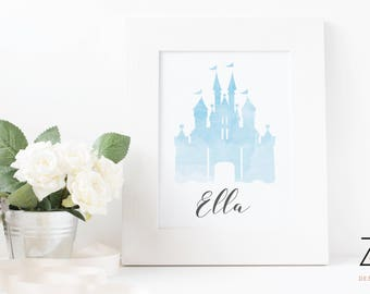 Personalised Watercolour Disney Magic Castle A4 Print - available in pink or blue