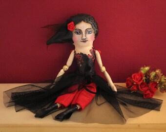 Delilah the Dancer Mixed Media Cloth Art Doll