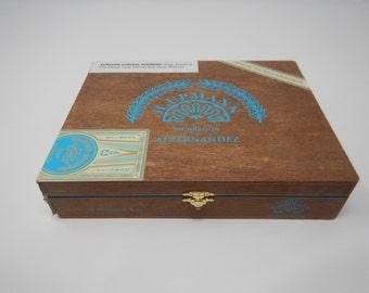 Wooden Cigar Box, H. Upmann, AJ Fernandez, 20 Toros 6x54, Brown with Blue Accent Cigar Box
