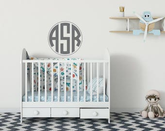 Monogram Wall Decal Letters - Nursery Monogram Wall Decal - Personalized Monogram Vinyl Wall Decal - Personalized Initials Nursery Decor