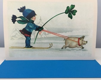 Girl and Pig Card, Holiday Card, Christmas Card, Winter Card, Vintage Image, Retro Image, Ski Card, Child Card