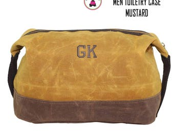 FOR HIM Monogrammed Waxed Canvas Deluxe Toiletry Case-Mustard Yellow-Free Ship
