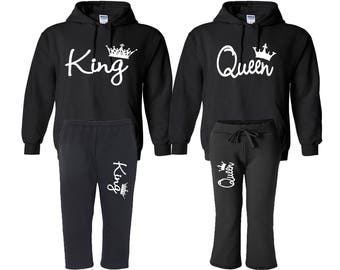 King Queen Hoodies With Sweatpants, King Queen Raglan Hoodies King Hoodie Queen Hoodie Pärchen Pullover Couple Matching Hoodies