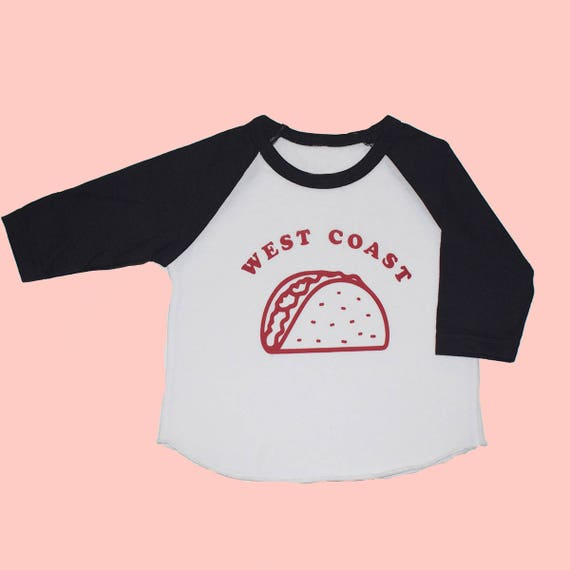 WEST COAST TACO - Toddler Long Sleeve Raglan - Black/White
