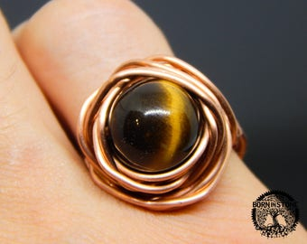 Wire wrapped ring Tiger eye ring Copper ring Steampunk ring Wire wrap ring Mens ring Womens ring Magic ring Best gift For her For him