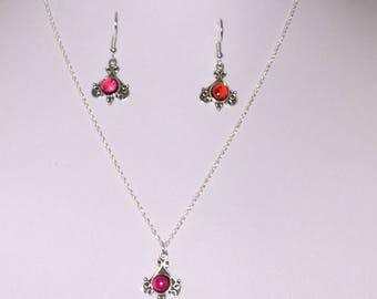 """Sterling Silver and Ruby pendant on an 18"""" Sterling Silver chain with matching Earrings"""