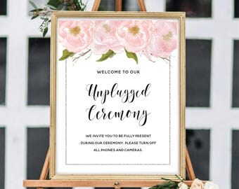 Unplugged Ceremony Sign, Unplugged Wedding Sign, Printable Wedding Sign, Blush Watercolor Peonies, Silver Glitter #SG002
