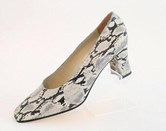 Jane Shilton Grey Tone Faux Snakeskin Block Heel/Like New/Size UK 5/Retro Shoes/1990's