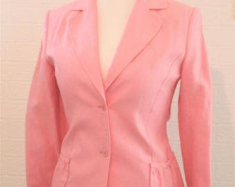 HC by Helen Cody Pink Linen Single Breasted Jacket with Pink Buttons/Pink Linen Jacket/Pink Retro Jacket/UK Size 12/1990s