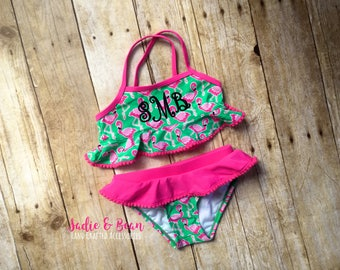 Monogrammed swimsuit, Monogrammed bathing suit, personalized swimsuit, Toddler swimsuit, ruffle swimsuit, monogrammed bikini, girls swimwear