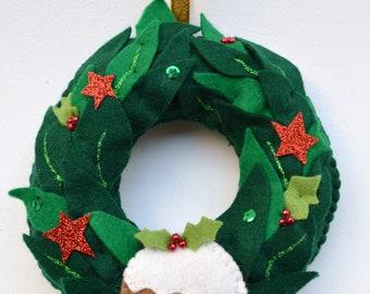 Christmas pudding wreath, Christmas wreath, handmade wreath, Christmas pudding, handmade wreath, Felt wreath