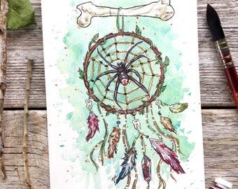 Dreamcatcher illustration // Black widow, Spider web, watercolor feathers
