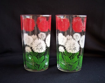 Tumblers with Red and White Flowers and Green Leaves, Vintage Floral 10 Ounce Tumblers