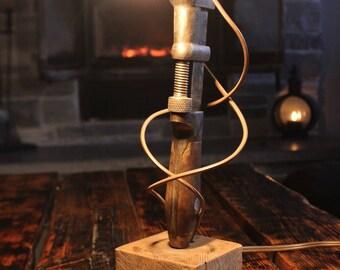 Diresta inspired Rustic pipe wrench lamp* pipe lamp* steampunk lamp* unique lamp* desk lamp* industreal lighting* man cave* table lamp*