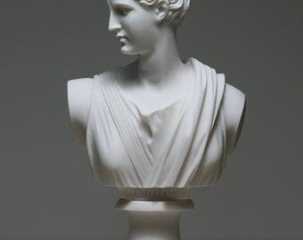 Greek Bust of ARTEMIS DIANA Goddess Art Statue Alabaster Sculpture 5.91in - 15cm **Free Shipping & Free Tracking Number**
