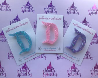 Large Disney D brooch / necklace various colours