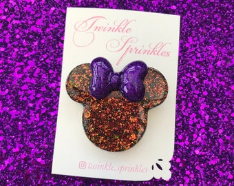 Halloween inspired Minnie Mouse brooch / necklaces
