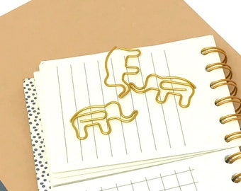 Gold Elephant Paperclips // Gold colored animal bookmarks // Three pack of fun gold elephant paperclips