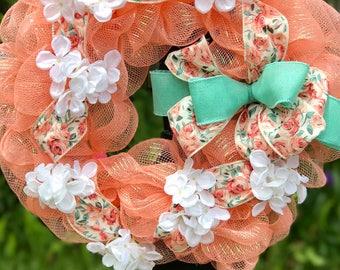 Peach and Teal Wreath