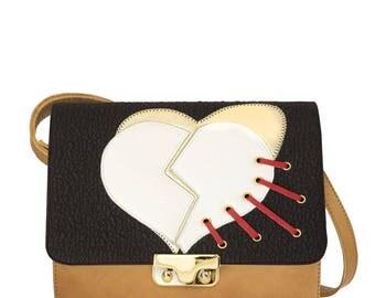 Beige Leather Minibag shoulder bag with heart flap-beige leather women's handbag-handmade handbag-Coral bags