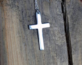 Silver Cross Necklace-Christian Cross Pendant-Religious Jewelry-Silver Necklace-Cross Pendant-Valentines Day Gift