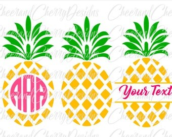 Pineapple SVG Pineapple Monogram svg Pineapple Monogram frame svg Pineapple split monogram Pineapple Cricut Cut File Pineapple Silhouette