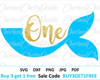 First Birthday Svg Mermaid birthday SVG Baby svg One svg files for Silhouette Mermaid tail svg files for Cricut 1st birthday Shirt svg Girl