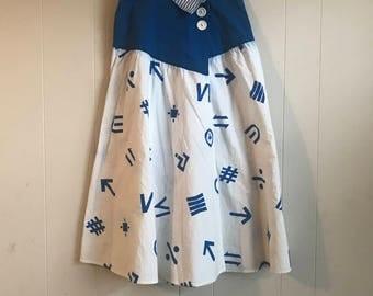 Vintage Young Edwardian Sport Math Symbol Wrap Skirt