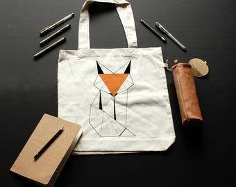 Tote-Bag Fox //Textile Recyclé // Sac en tissu // Illustration Handmade // Coton bio // Sac Bio // fox geometric // Renard //Everyday bag