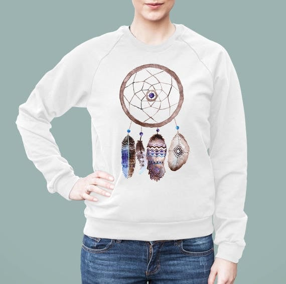 Feathers Dreamcatcher | American Apparel Unisex California Fleece Raglan | Native Graphic Sweatshirt | Hippie Watercolor | Boho | ZuskaArt