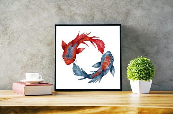Yin Yang Koi Fish | Framed poster | Wall art decor | Watercolor painting | Japanese art | Red and Blue | Meditation art | Yoga | ZuskArt