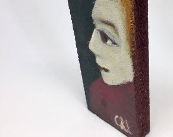 Small painting on wood, decorative gift - Big-eyed Blond